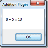 MyPluginApp - Addition Plugin Output